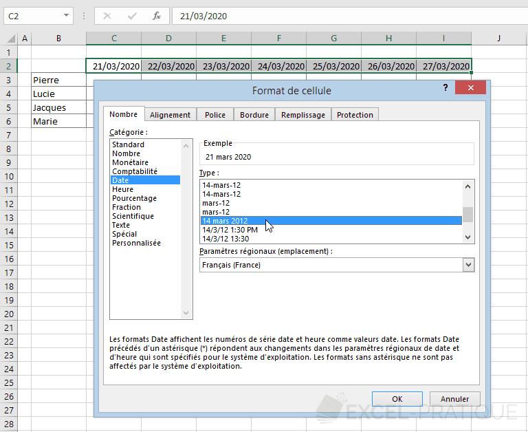 excel format cellule dates