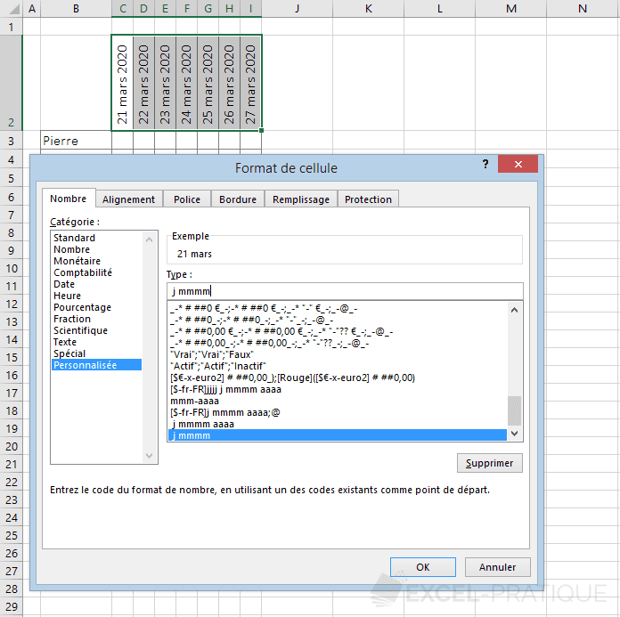 excel format dates personnalise
