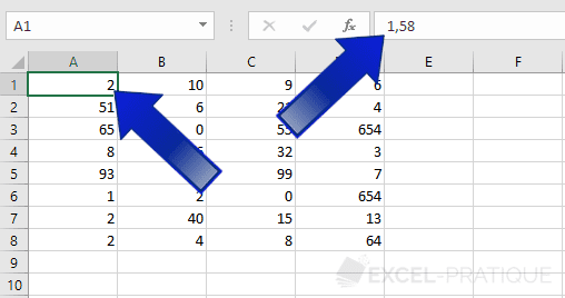 excel nombres 0 decimale format
