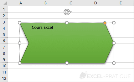 excel texte forme ajouter formes