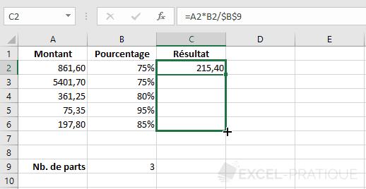 excel formule recopie dollar formules