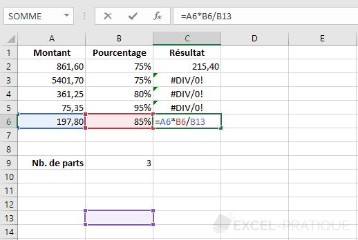 excel formule recopie erreur formules