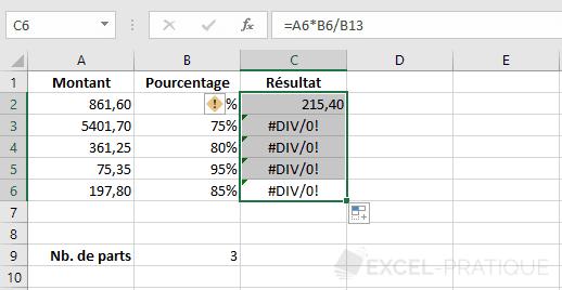excel formule recopiee erreur formules