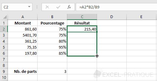 excel formule recopiee formules