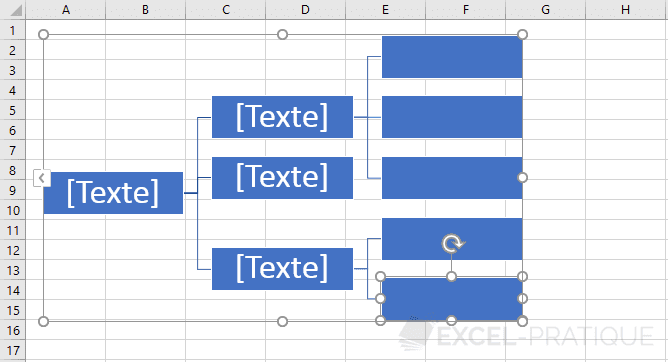 excel graphique smartart organigramme horizontal