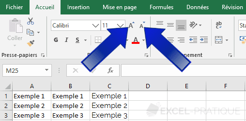 excel taille texte augmenter reduire manipulations 2