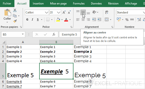 excel alignement vertical centre manipulations 3