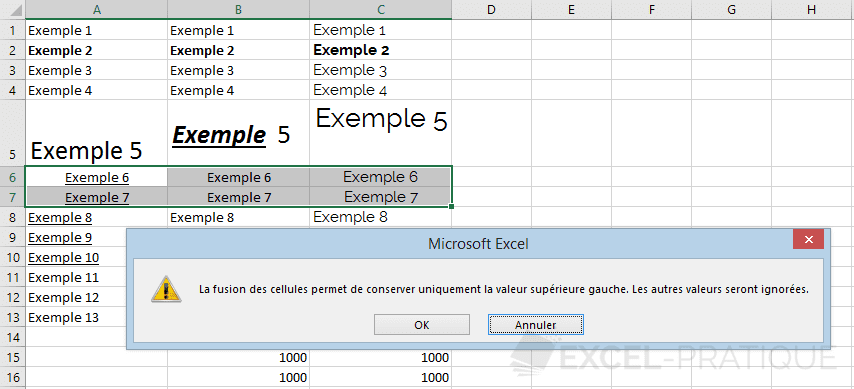 excel fusionner cellules manipulations 3