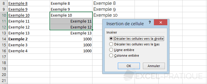 excel inserer cellules choix decalage manipulations 5