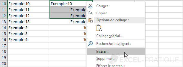 excel inserer cellules manipulations 5