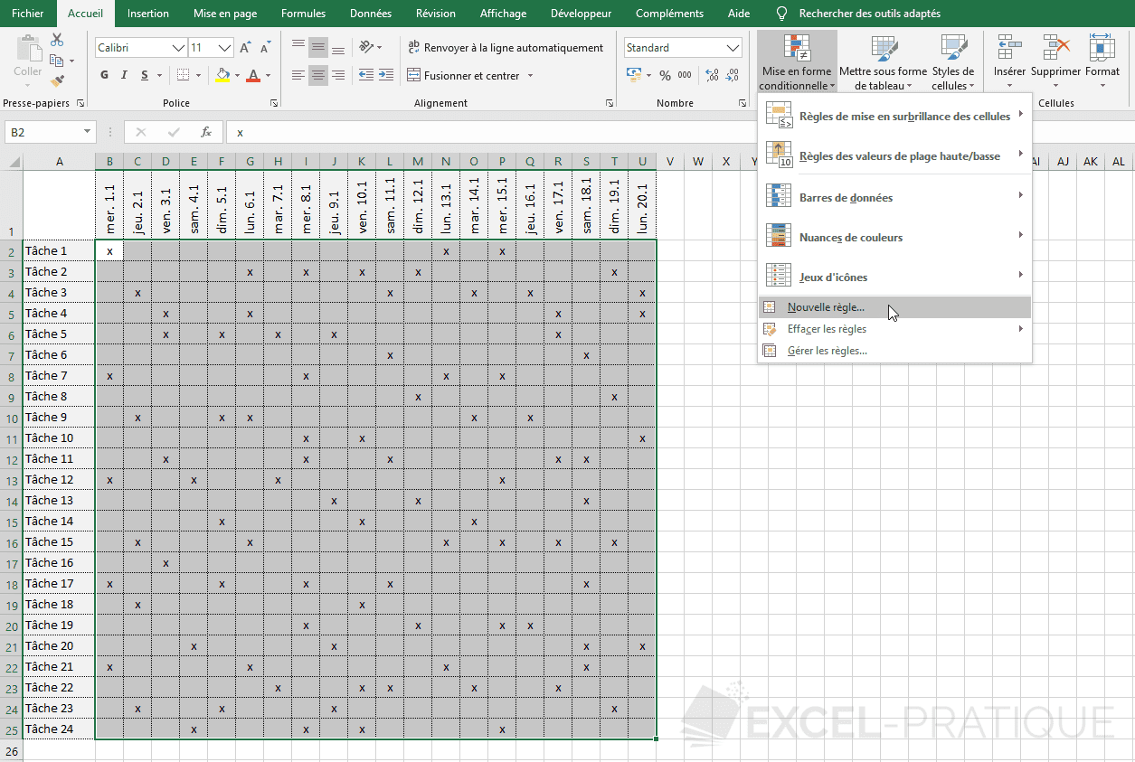 excel mise en forme conditionnelle planning mfc personnalisee