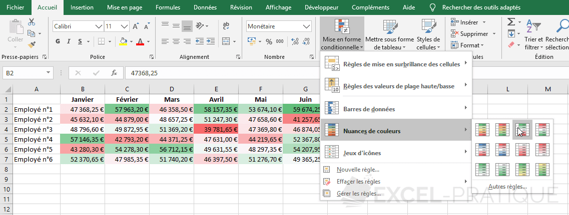 excel mise en forme conditionnelle nuances couleurs