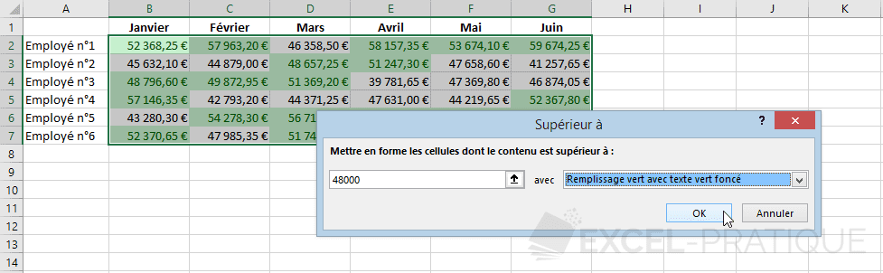 excel mise en forme conditionnelle superieur