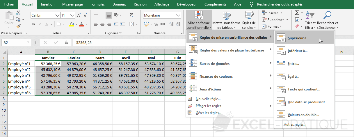excel mise en forme conditionnelle