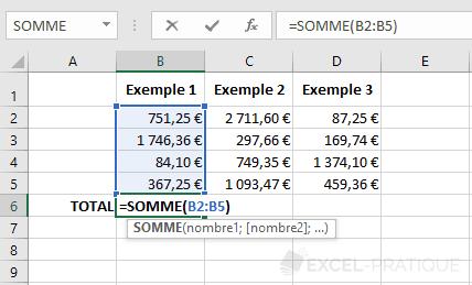 excel fonction somme recopie formule