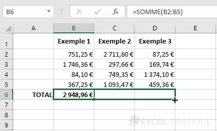 excel recopie fonction somme formule