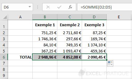 excel recopie somme formule