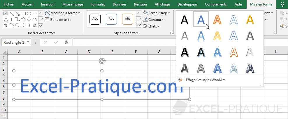 excel wordart modifier style texte