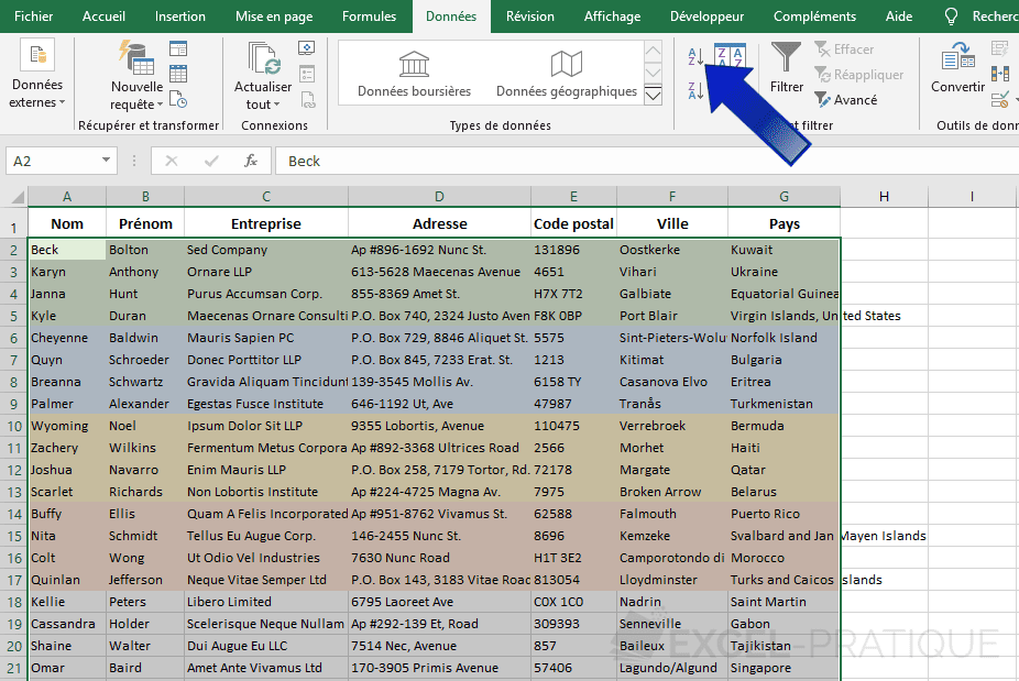 excel trier data png