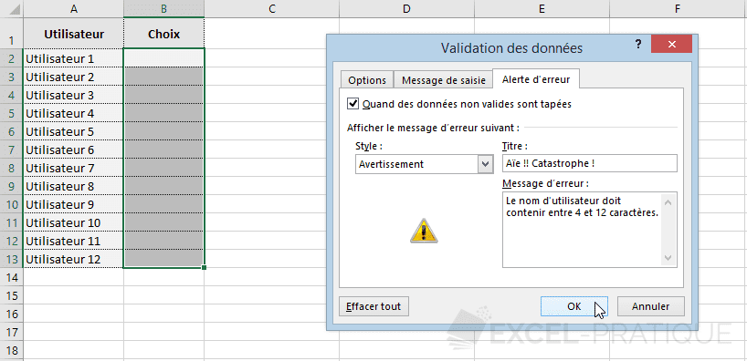 excel validation donnees alerte erreur