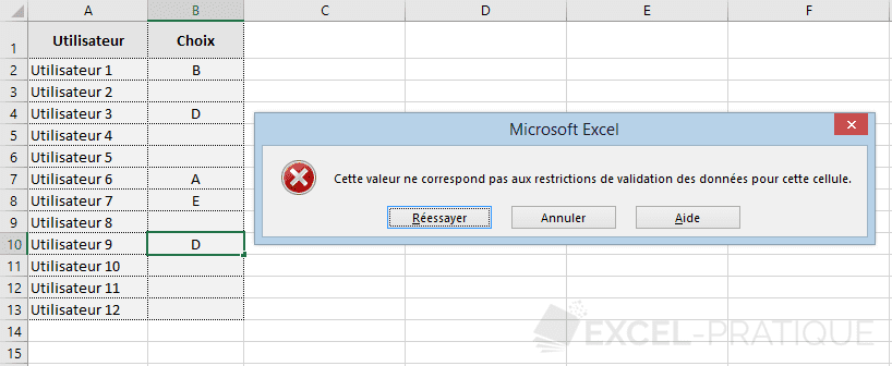 excel validation donnees doublons