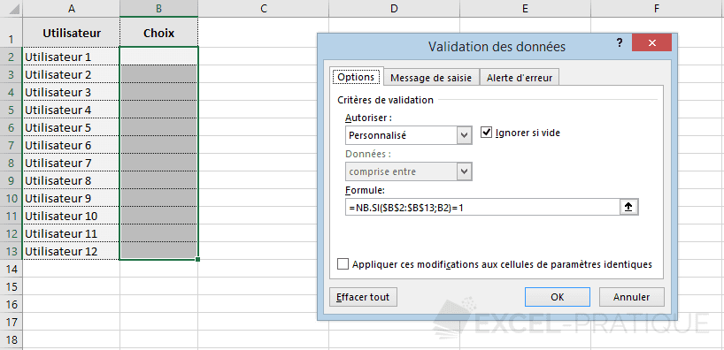 excel validation donnees formule