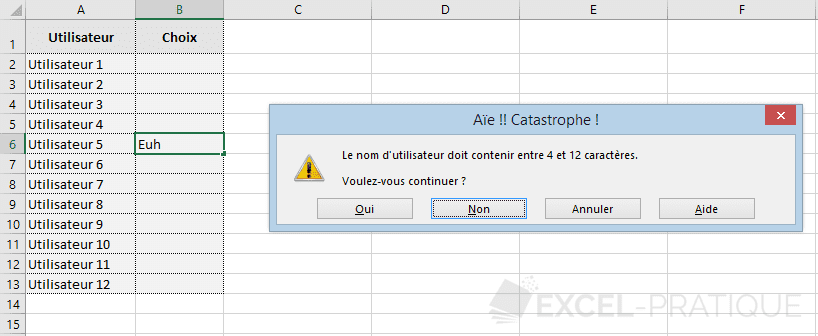 excel validation donnees message erreur personnalise