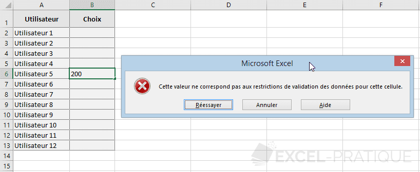 excel validation donnees message erreur