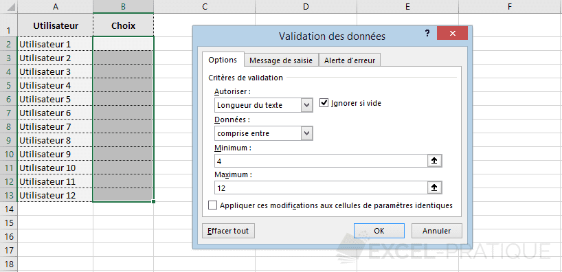 excel validation donnees nombre caracteres