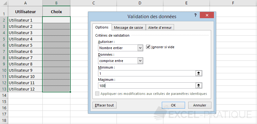 excel validation donnees nombre