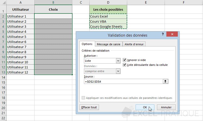 excel validation donnees plage