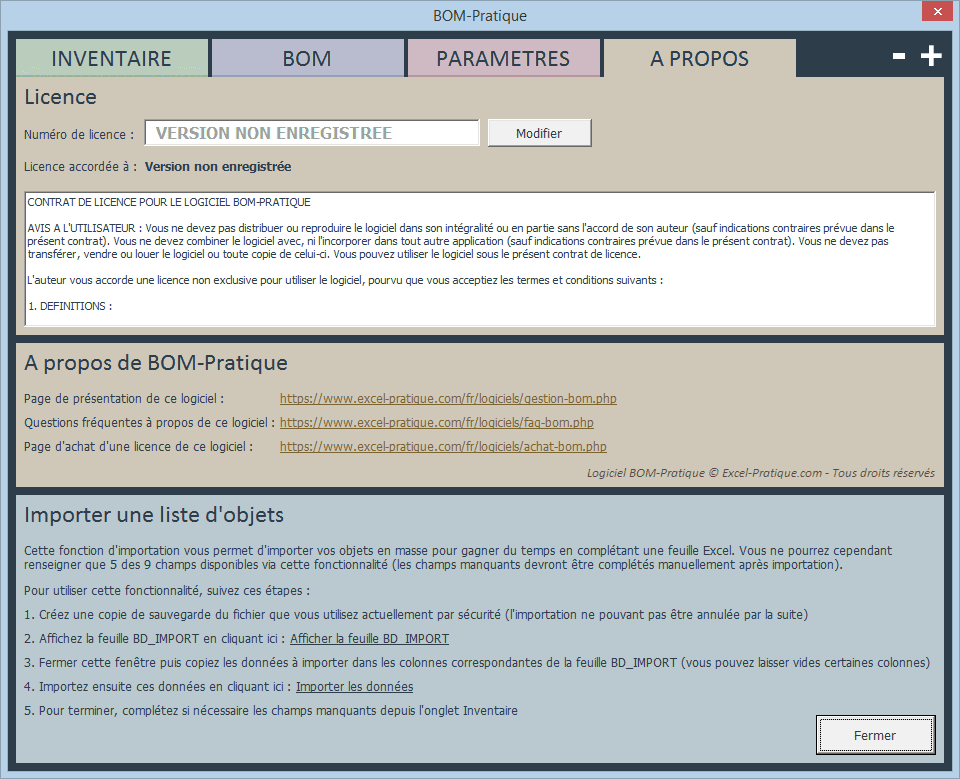 bom excel importer donnees gestion