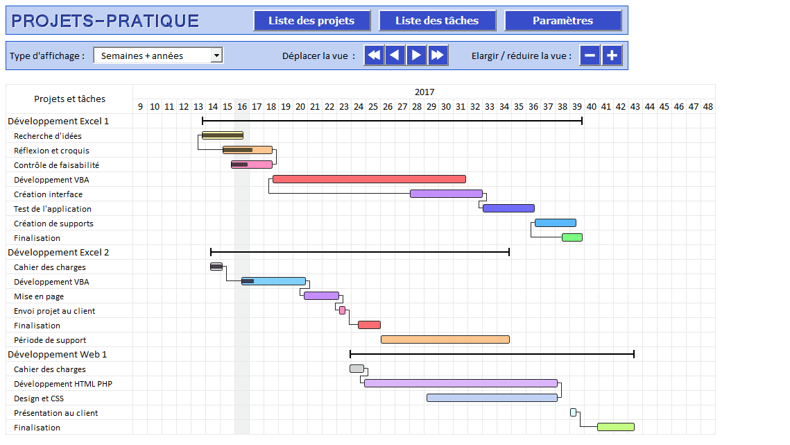 projets excel gantt semaines annees gestion