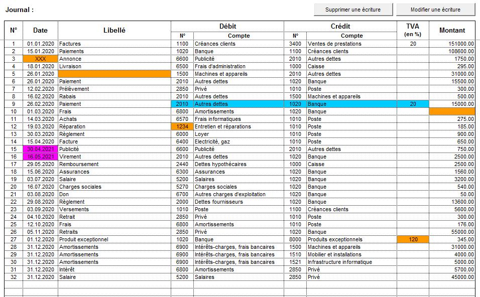 comptabilite excel journal erreurs presentation compta suite