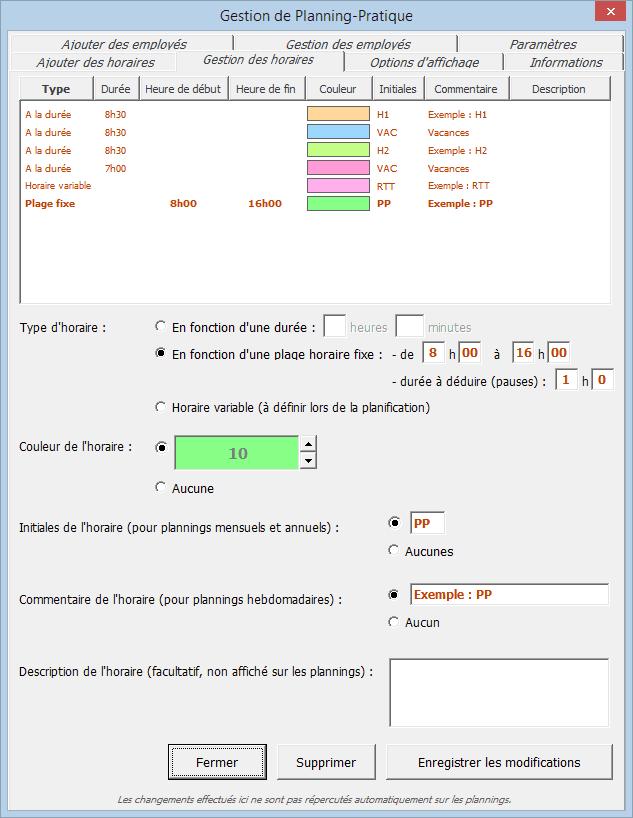 planning excel modifier horaire tutoriel