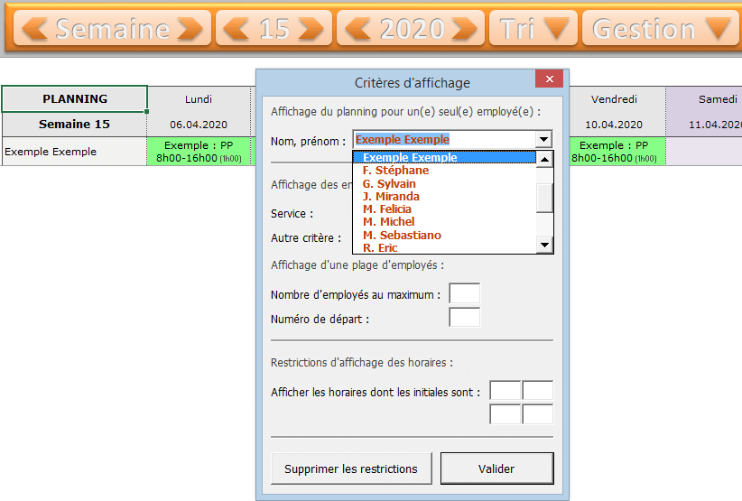 planning excel criteres affichage tutoriel suite