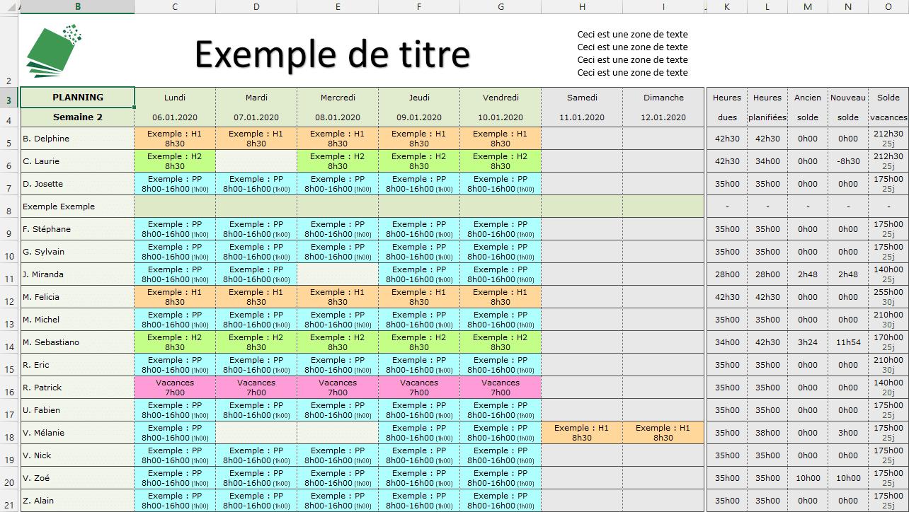 planning-hebdomadaire-excel - tutoriel planning suite