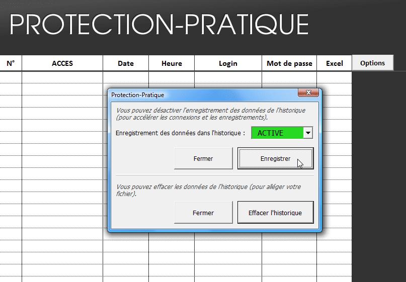 historique - tutoriel protection