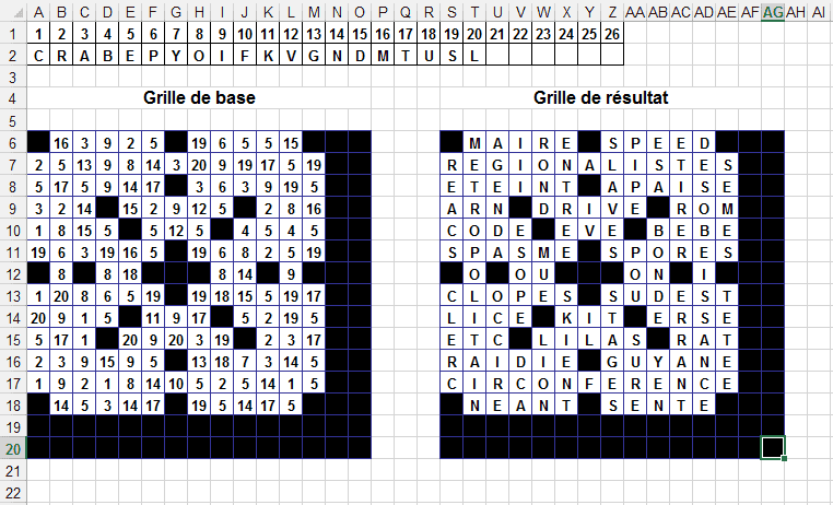 lettres codees excel