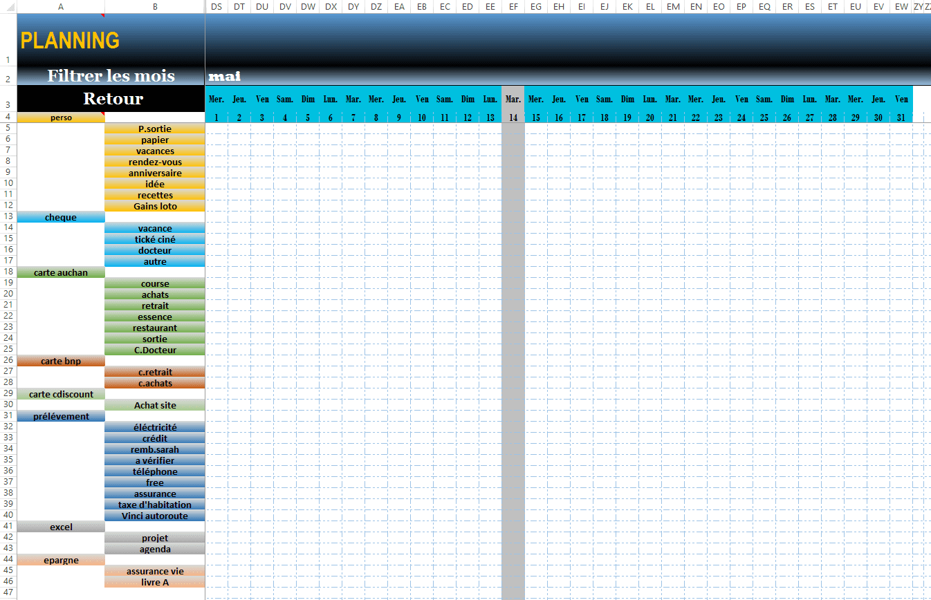 planning perso excel