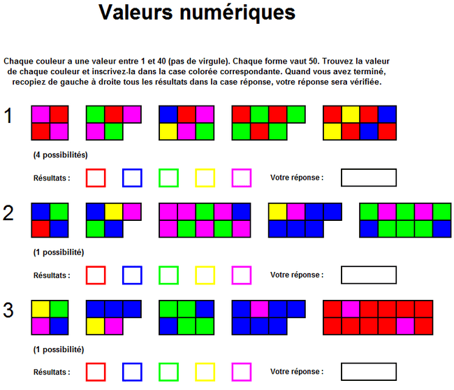valeurs excel jeu