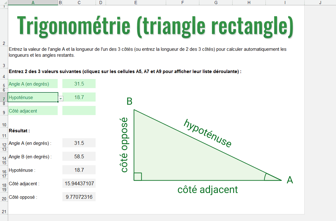 trigonometrie excel triangle rectangle angles cotes