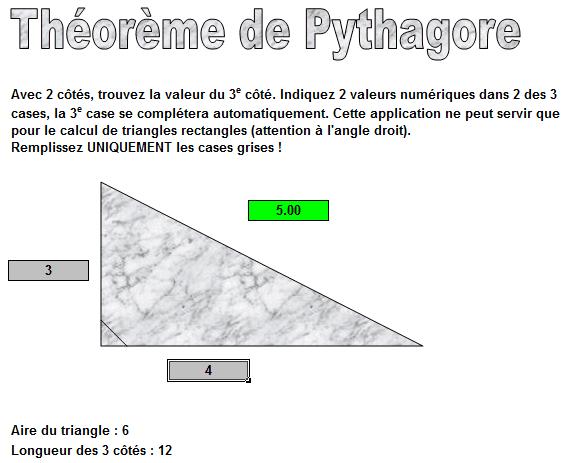 pythagore excel
