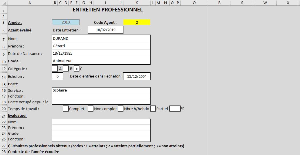 excel formulaire feuille