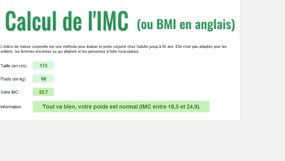 calcul bmi imc poids taille excel