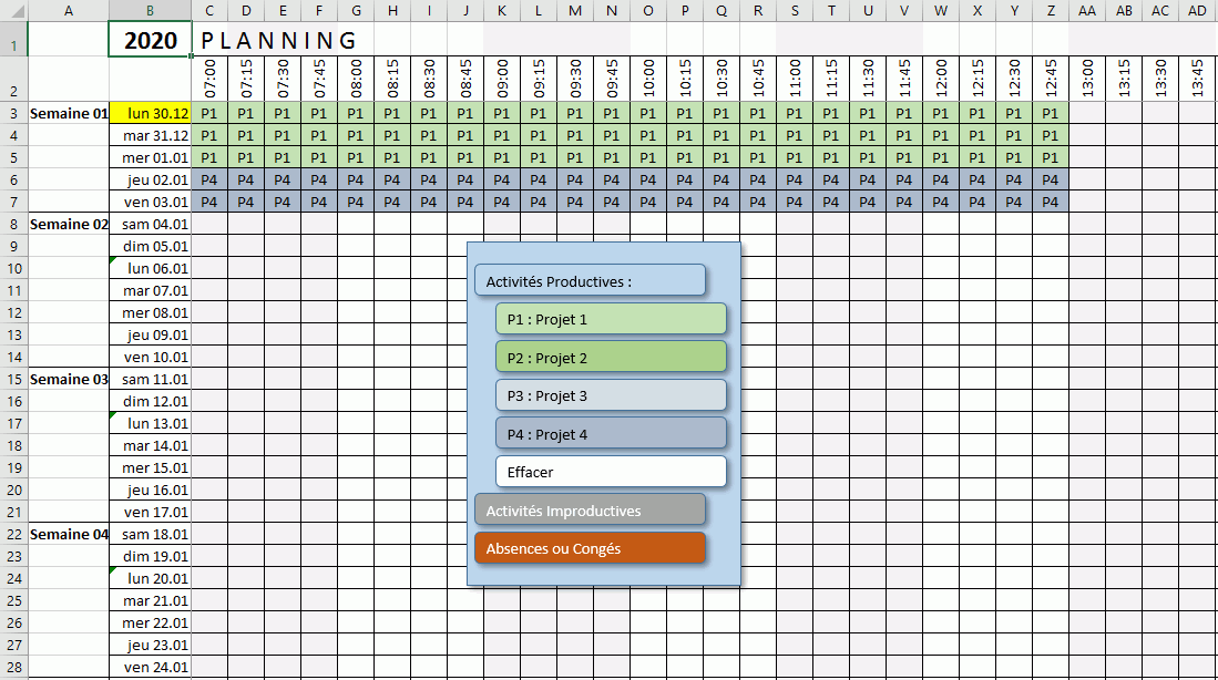 menu shapes planning excel