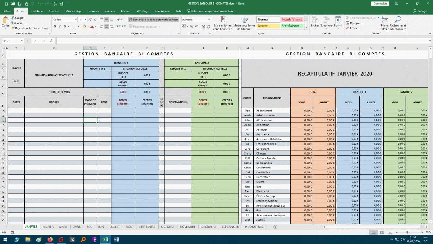 Applications Excel Budget Gestion De Comptes