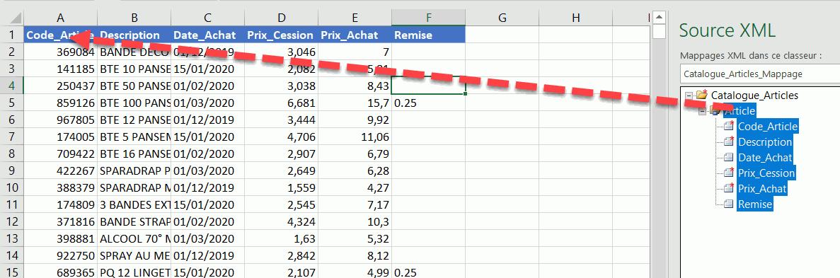 tutoriel export vers xml excel
