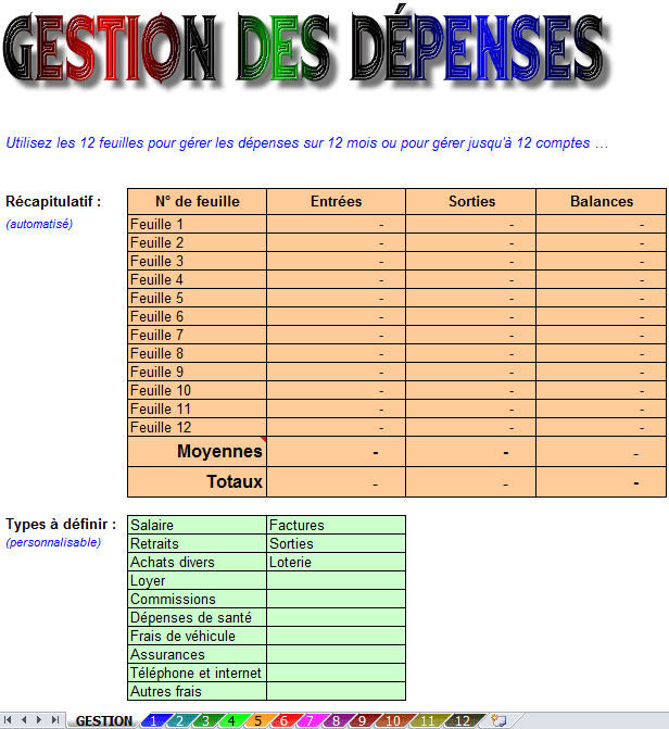 gestion depenses excel
