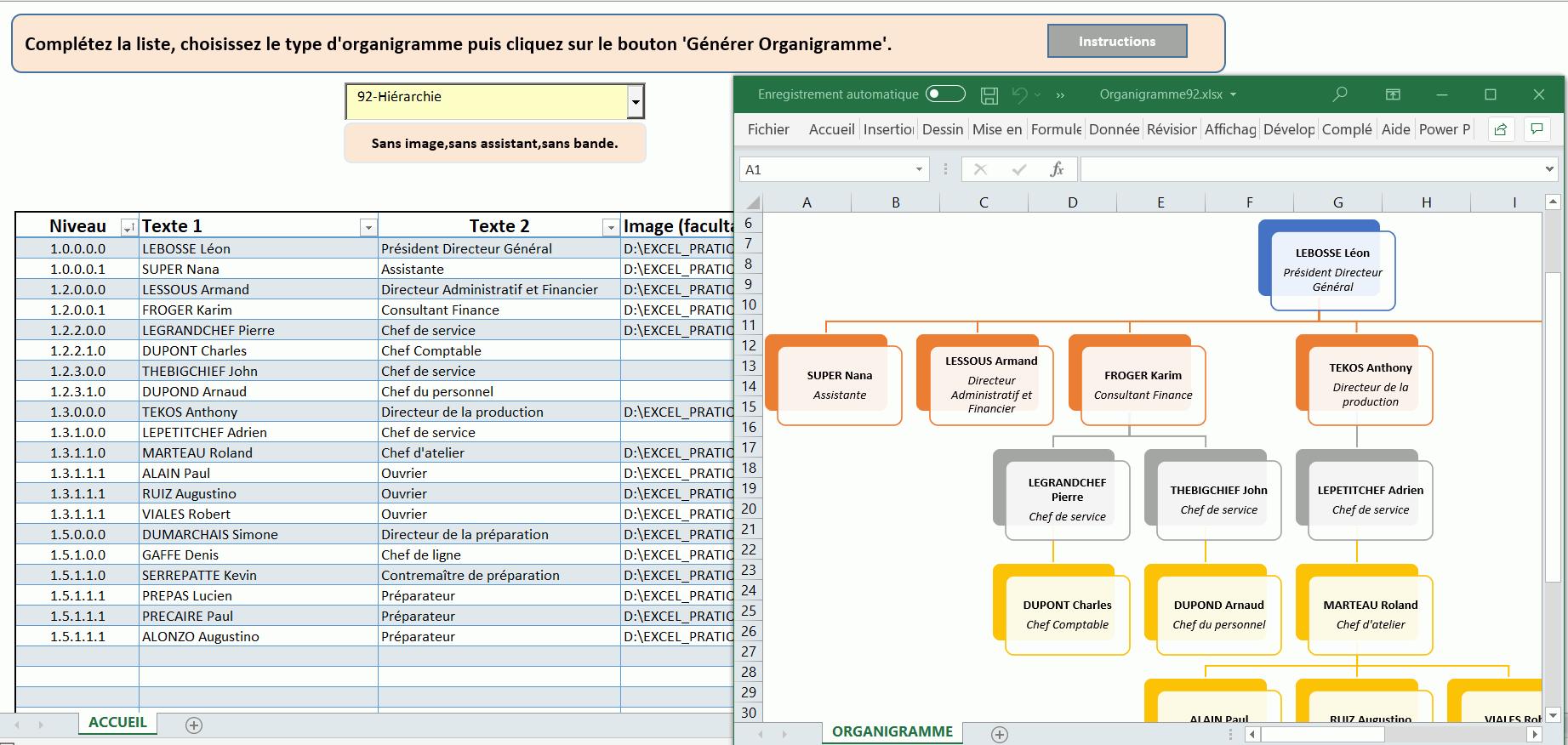 excel smartart organigram